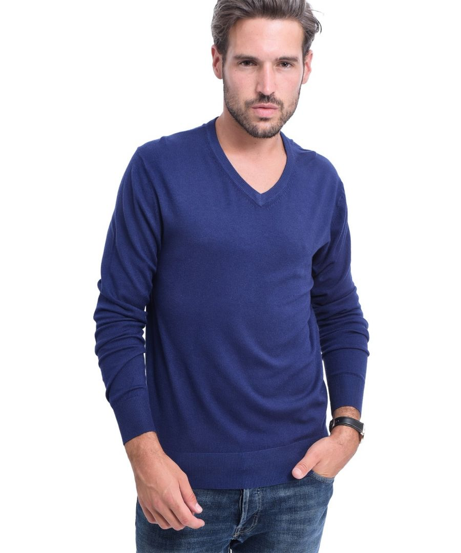 Image for C&JO V-neck Elbow Patch Sweater in Navy