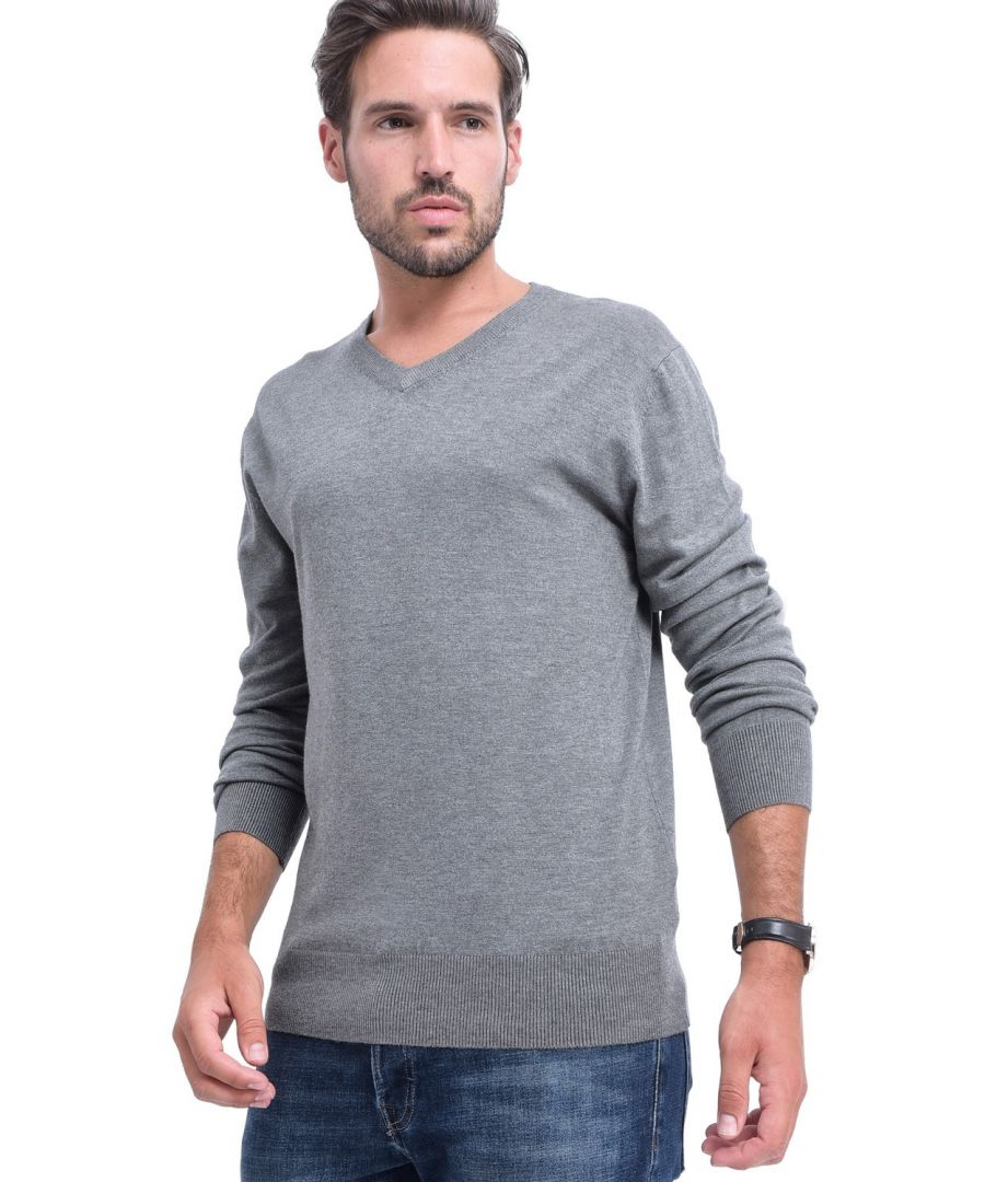 Image for C&JO V-neck Elbow Patch Sweater in Grey