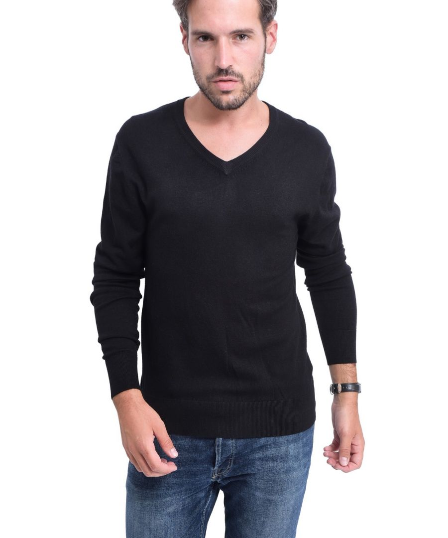 Image for C&JO V-neck Elbow Patch Sweater in Black
