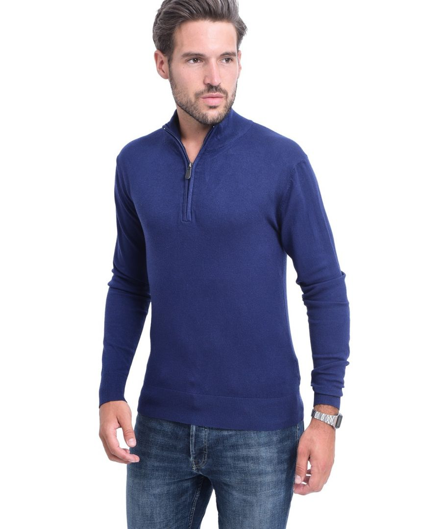 Image for C&JO Half-Zip Elbow Patch Sweater in Navy