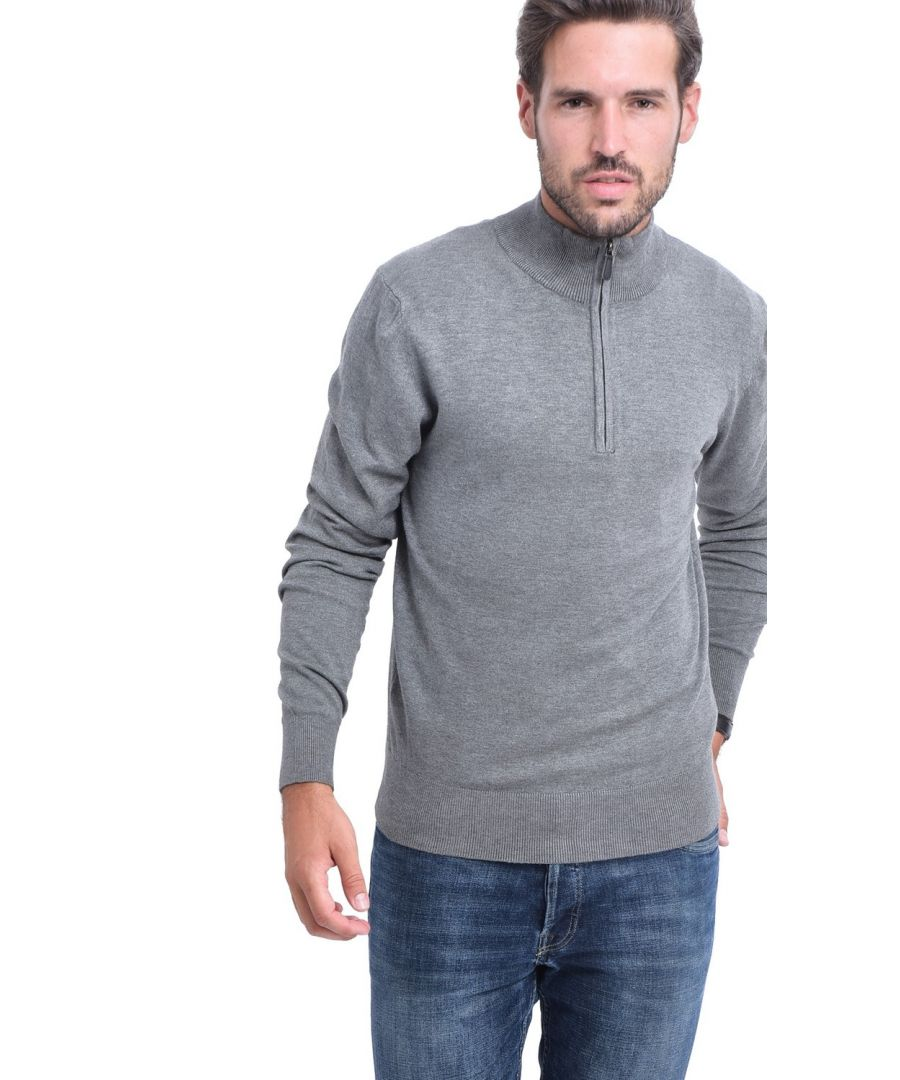 Image for C&JO Half-Zip Elbow Patch Sweater in Grey