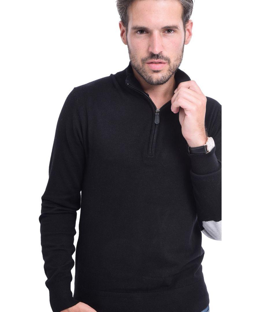 Image for C&JO Half-Zip Elbow Patch Sweater in Black