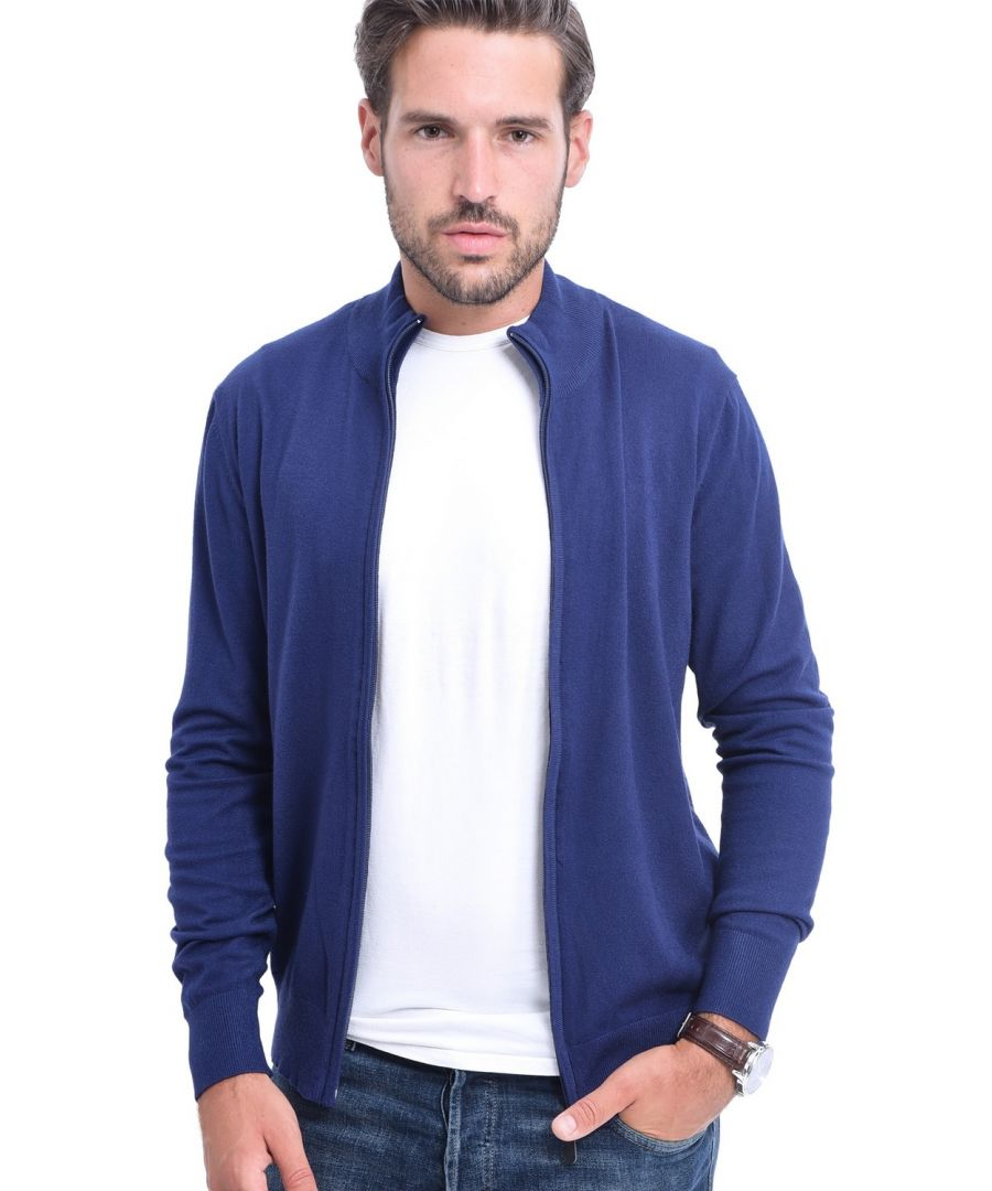Image for C&JO Elbow Patch Zip Cardigan in Navy