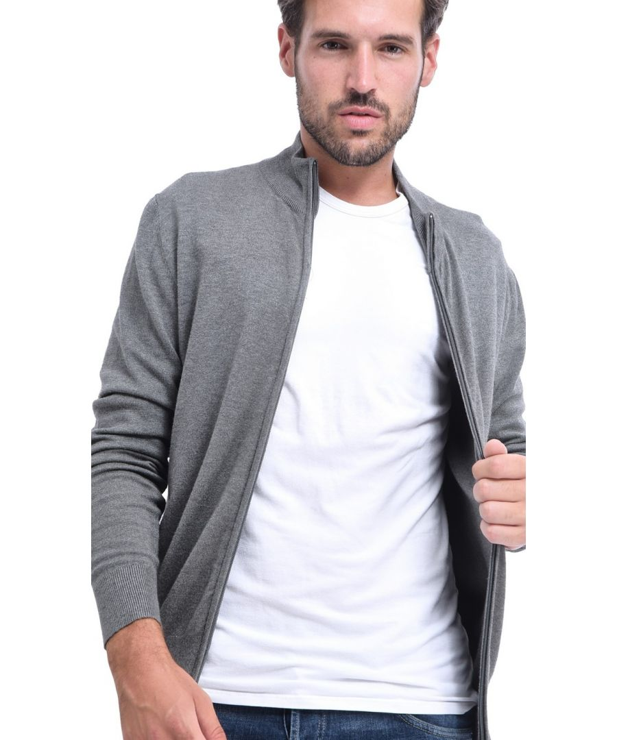 Image for C&JO Elbow Patch Zip Cardigan in Grey