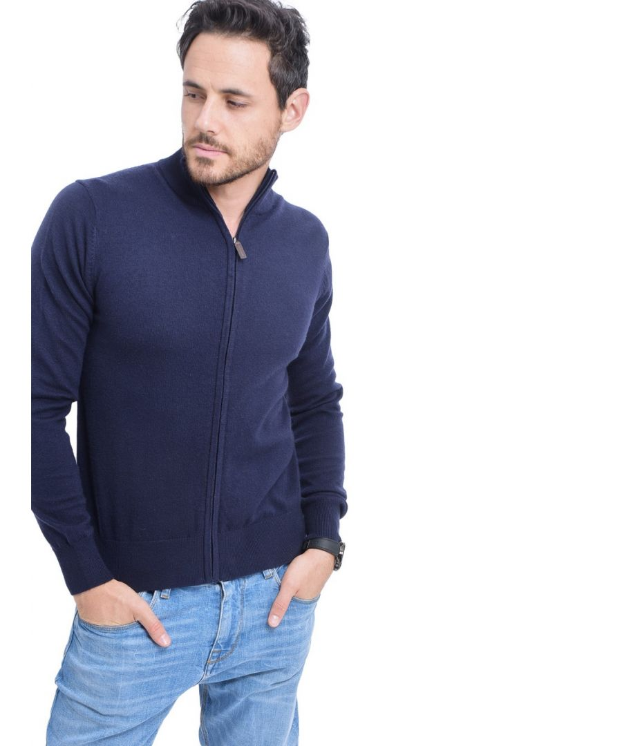 Image for C&JO Zip Cardigan with Leather Zip in Navy