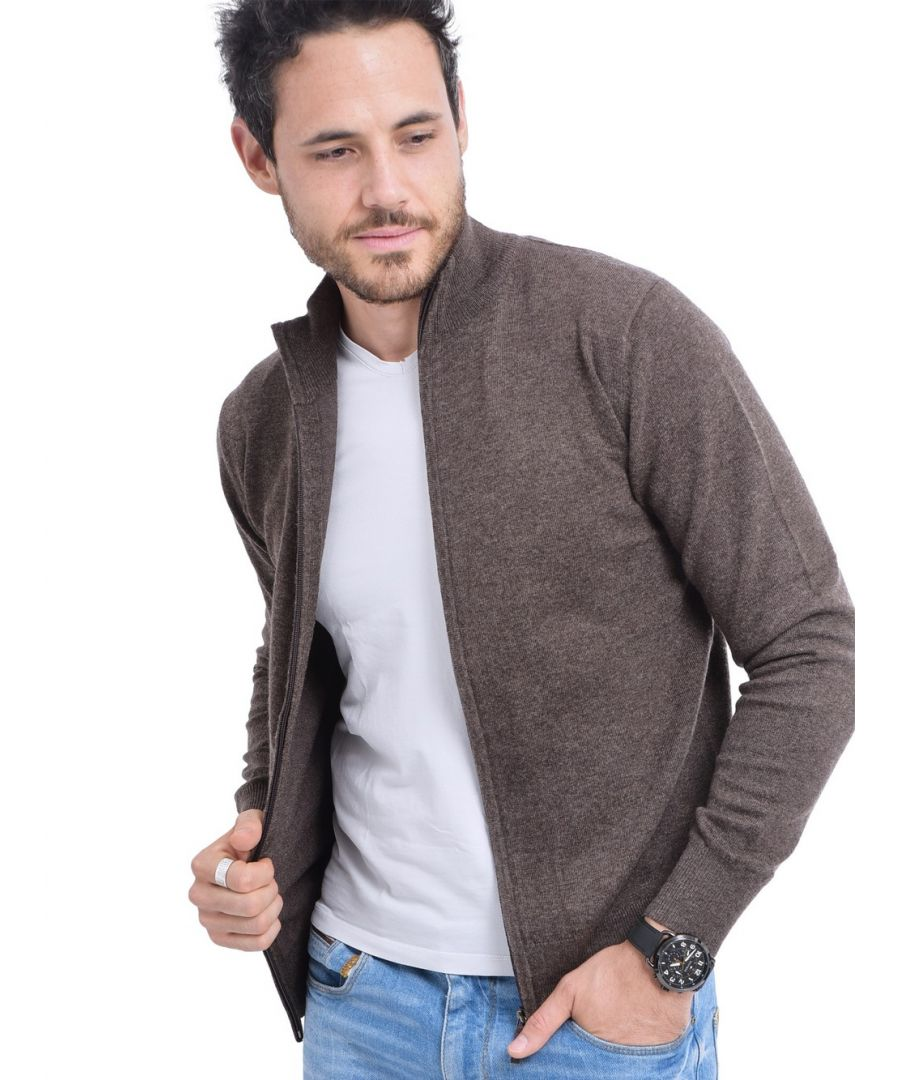 Image for C&JO Zip Cardigan with Leather Zip in Brown