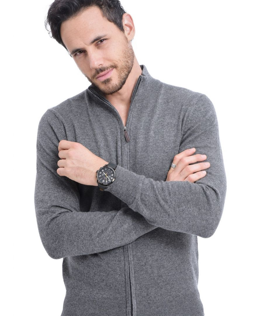 Image for C&JO Zip Cardigan with Leather Zip in Grey