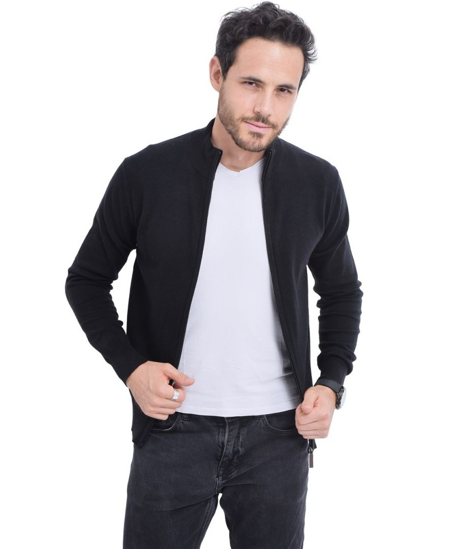 Image for C&JO Zip Cardigan with Leather Zip in Black