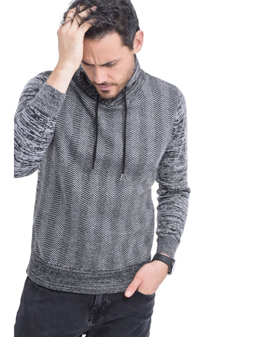 Image for C&JO Shawl Collar Jacquard Sweater with Cords in Black