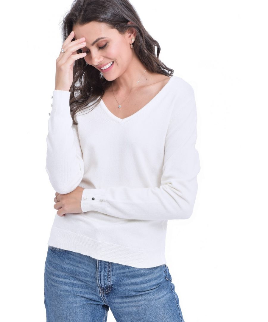 Image for C&JO V-neck Sweater with Buttoned Sleeves in Natural