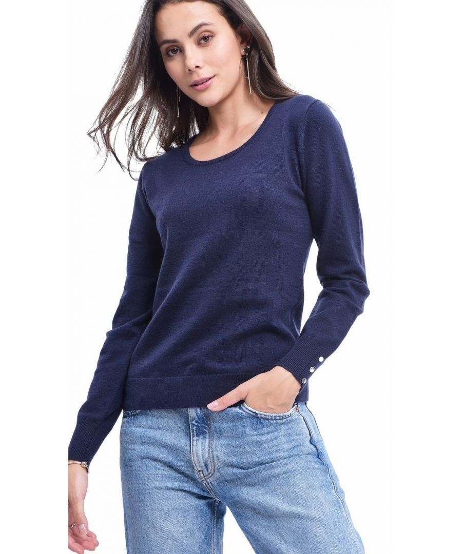 Image for C&JO Round Neck Sweater with Buttoned Sleeves in Navy