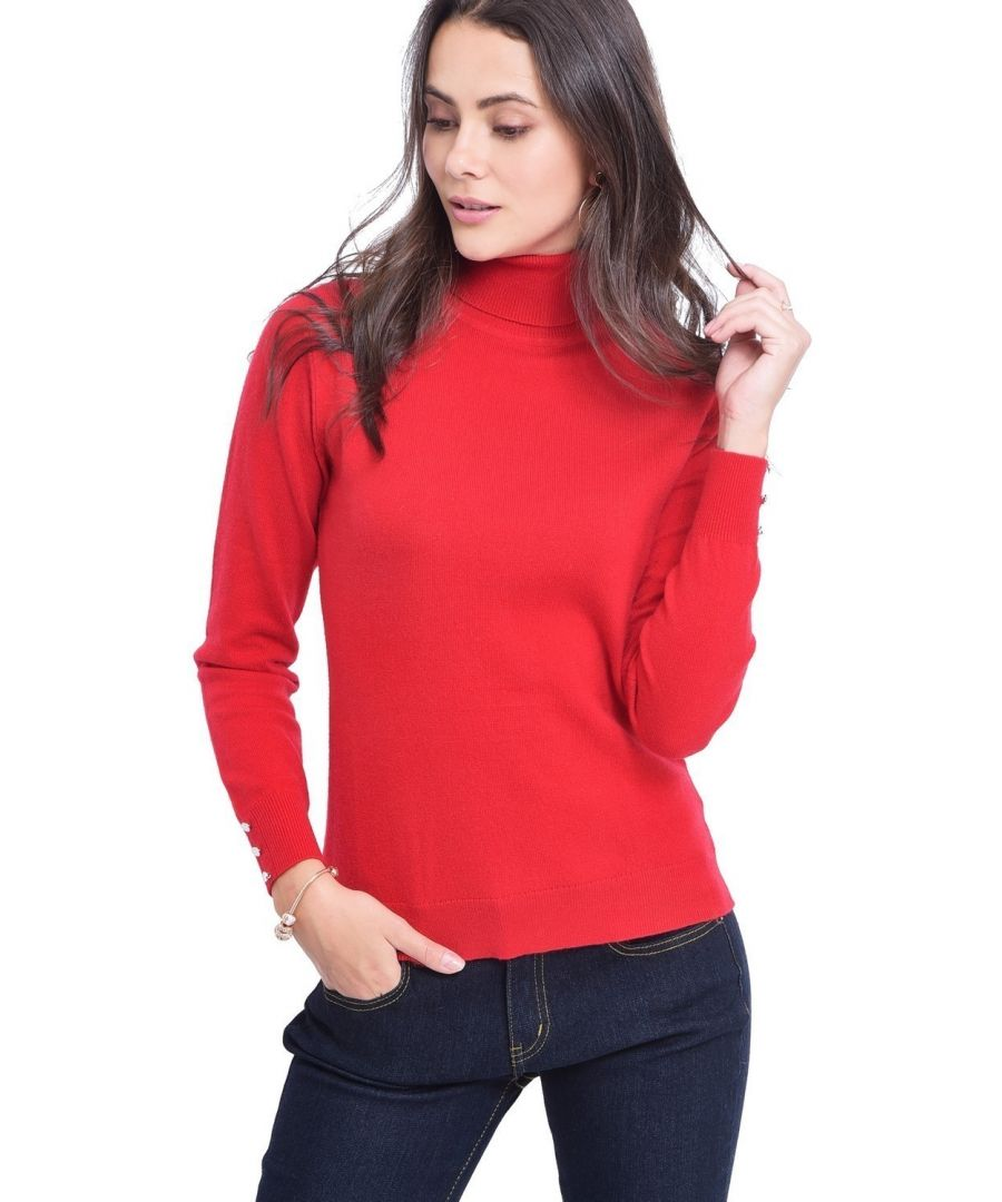 Image for C&JO Turtleneck Sweater with Buttoned Sleeves in Red