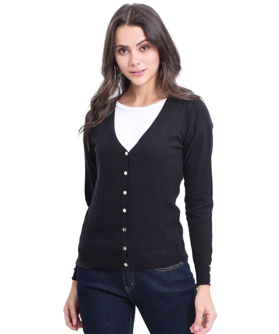 Image for C&JO V-neck Cardigan with Silver Buttons in Black