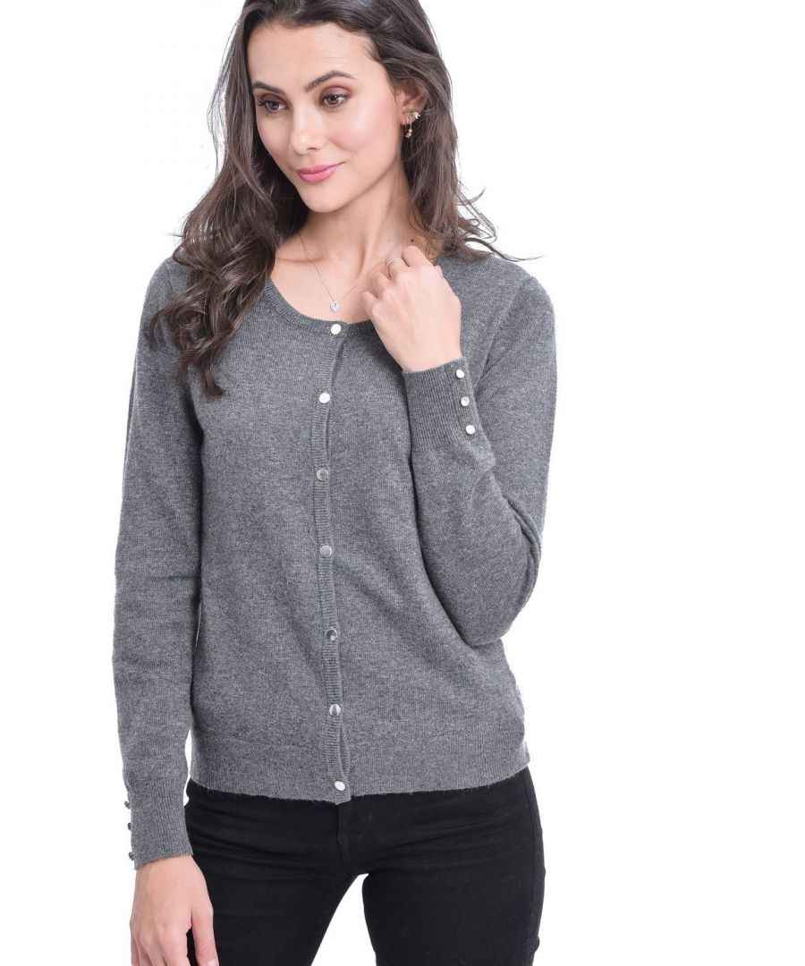 Image for C&JO Round Neck Cardigan with Silver Buttons in Grey