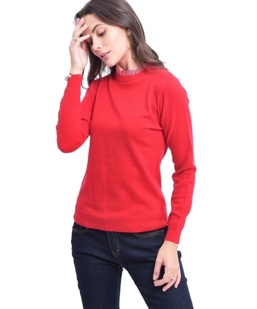 Image for C&JO High Neck Striped Collar Sweater in Red