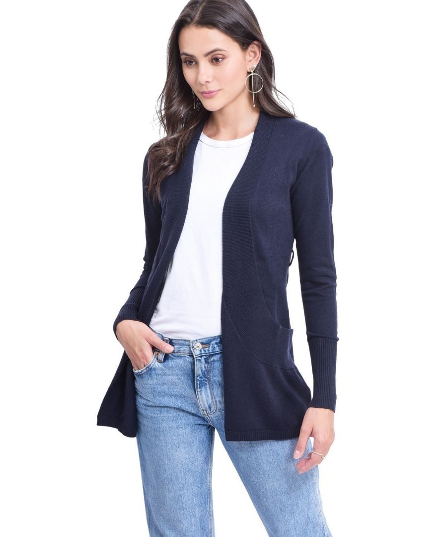 Image for C&JO Longline Shawl Collar Cardigan with Pockets in Navy