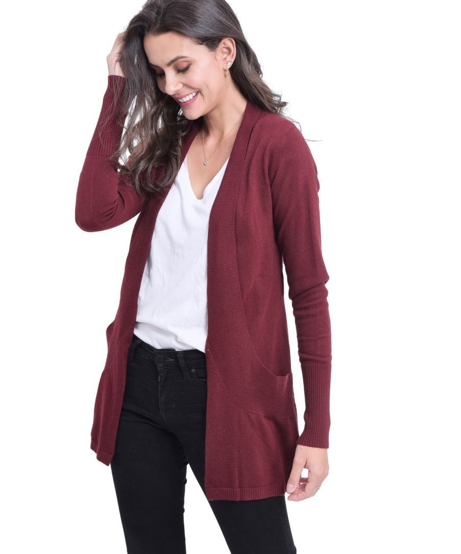 Image for C&JO Longline Shawl Collar Cardigan with Pockets in Maroon