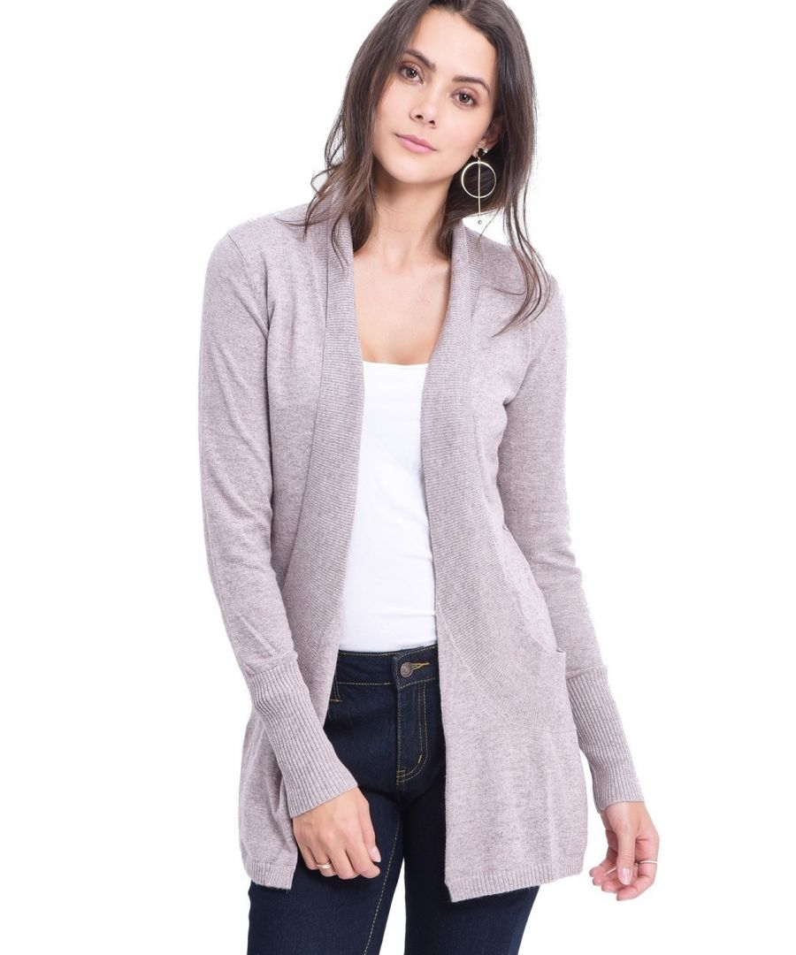 Image for C&JO Longline Shawl Collar Cardigan with Pockets in Beige