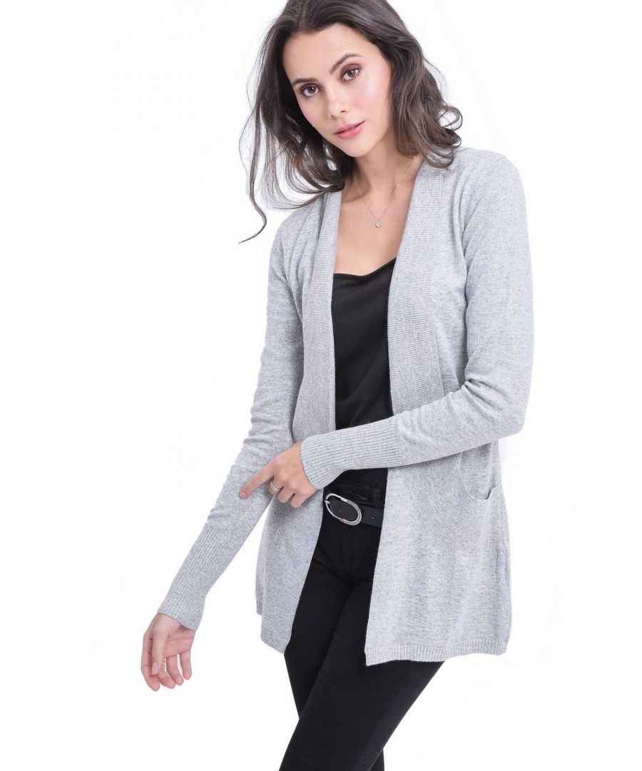 Image for C&JO Longline Shawl Collar Cardigan with Pockets in Light Grey