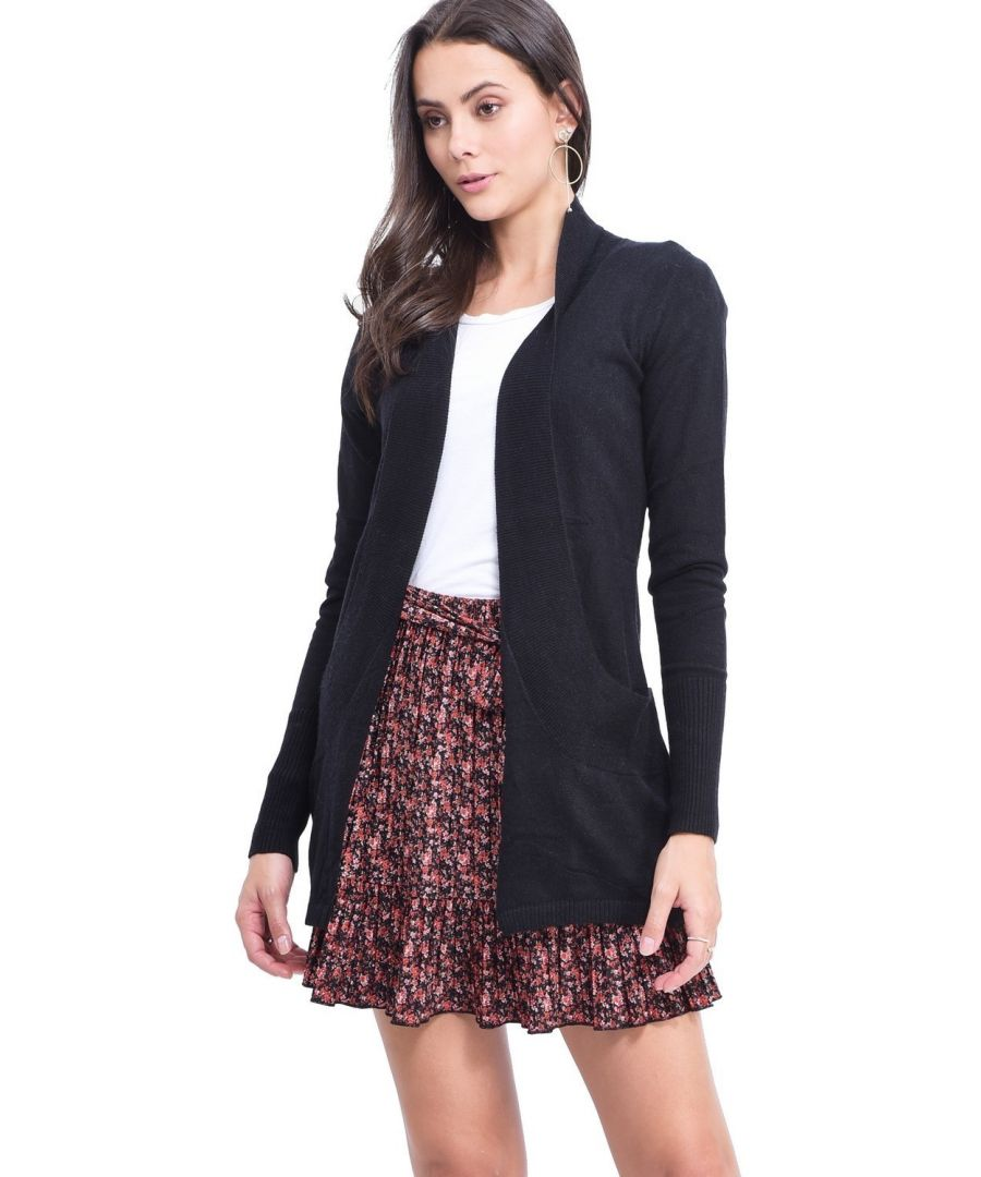 Image for C&JO Longline Shawl Collar Cardigan with Pockets in Black