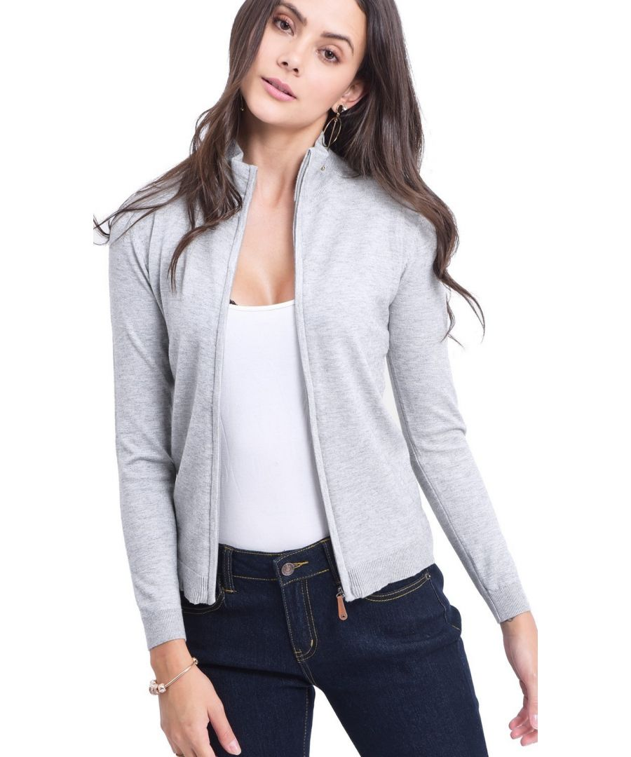 Image for C&JO Zip Cardigan with Leather Zip in Light Grey
