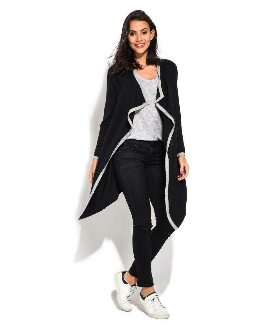 Image for C&JO Longline Two-tone Trapeze Cardigan in Black