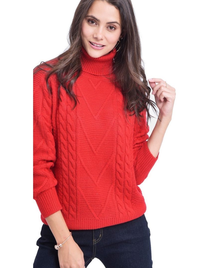 Image for C&JO Turtleneck Twisted Yarn Sweater in Red