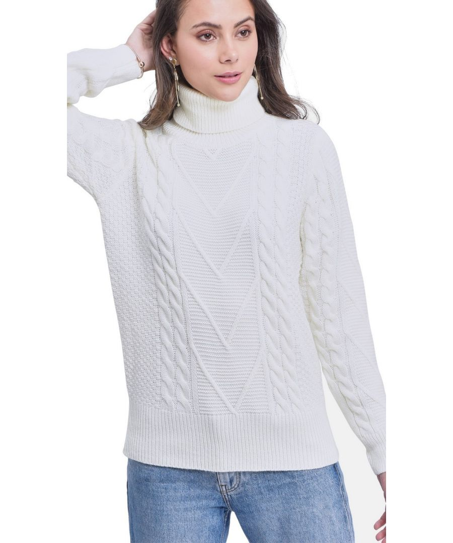 Image for C&JO Turtleneck Twisted Yarn Sweater in Natural