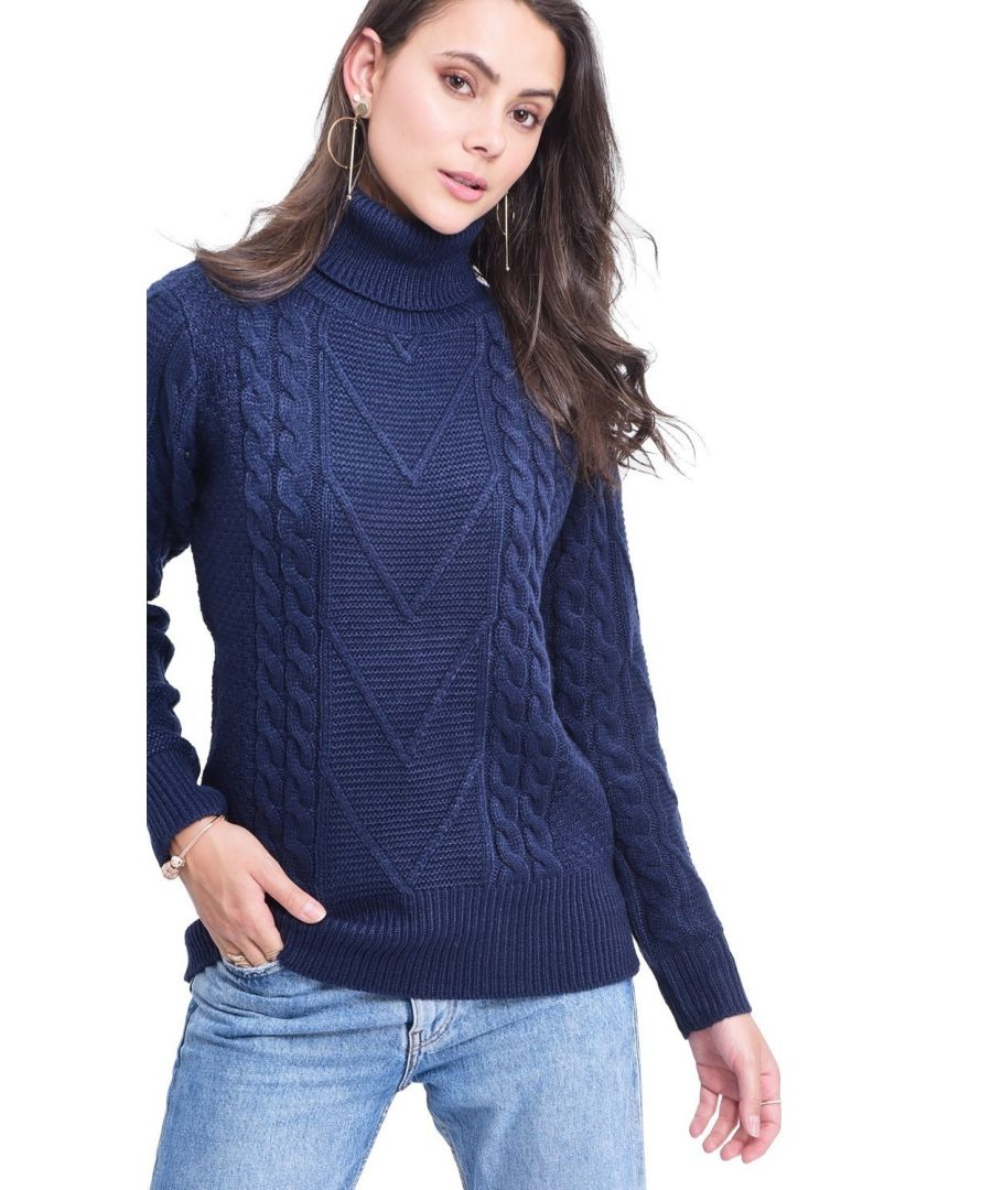 Image for C&JO Turtleneck Twisted Yarn Sweater in Navy