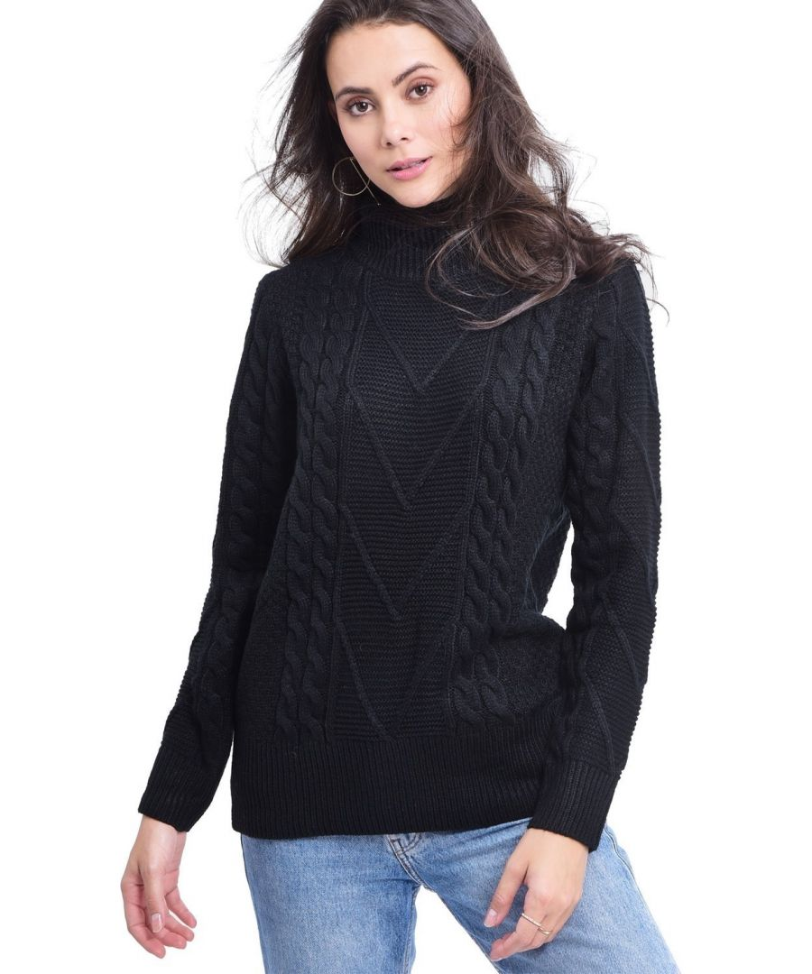 Image for C&JO Turtleneck Twisted Yarn Sweater in Black