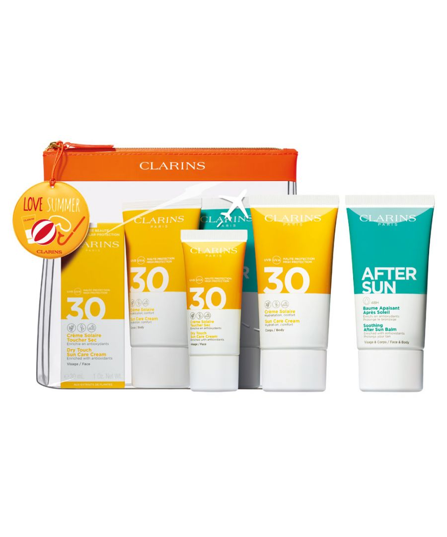 Image for CLARINS SUMMER SET - DRY TOUCH SUN CARE CREAM SPF30 75ML & 30ML & AFTER SUN BALM 75ML