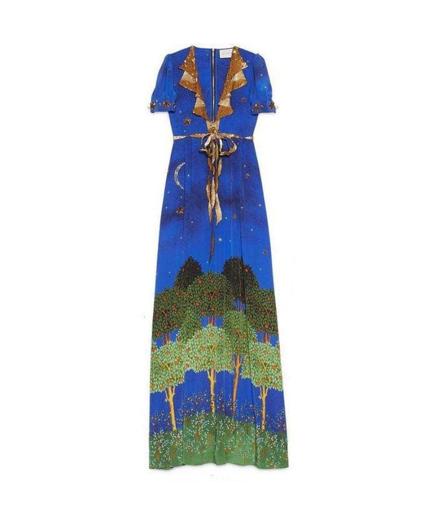 Image for Gucci Blue Night Garden Silk Gown