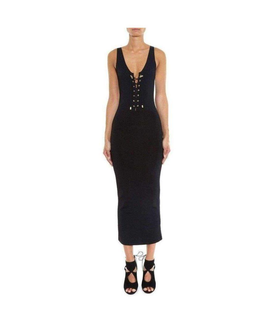 Image for Balmain Black Lace-up Tank Dress
