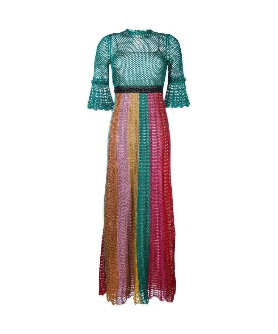 Image for Gucci Multi Stripe Lurex Knitted Crochet Dress