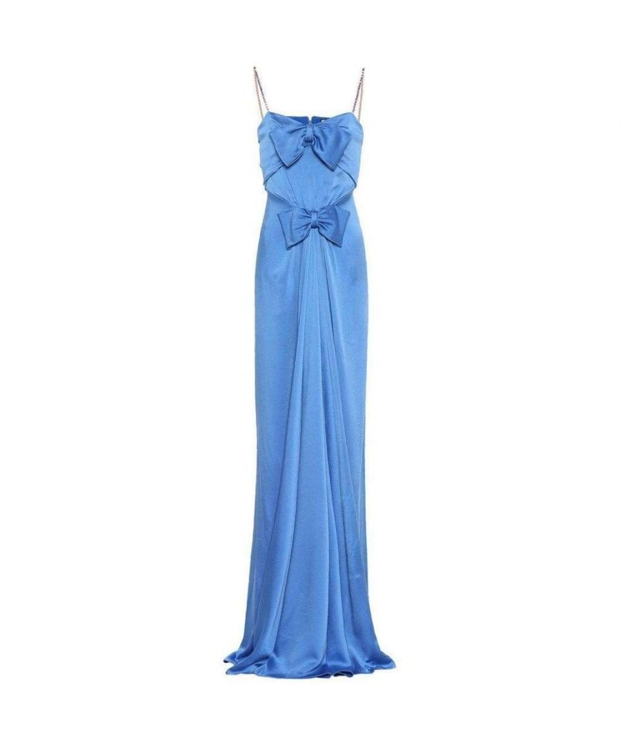 Image for Gucci Blue Embellished Satin Gown