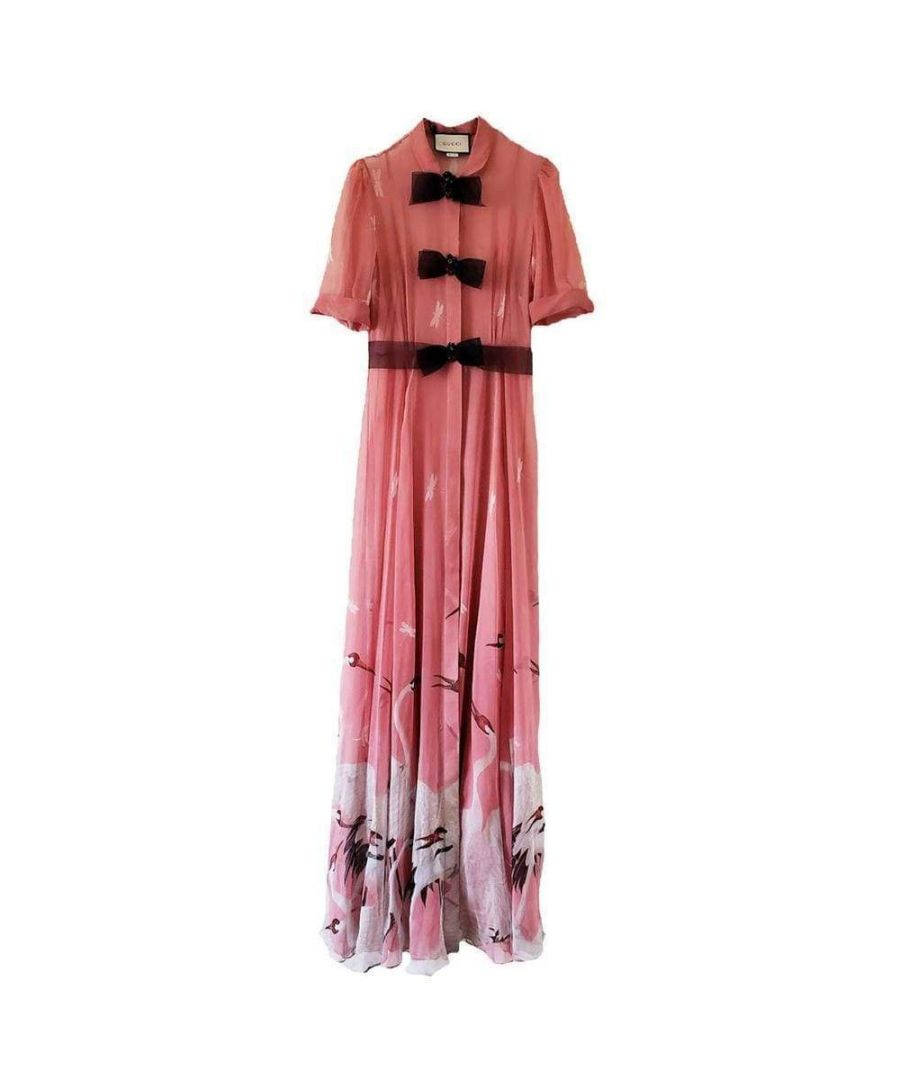 Image for Gucci Pink Swan Print Dress with Bows on the Front