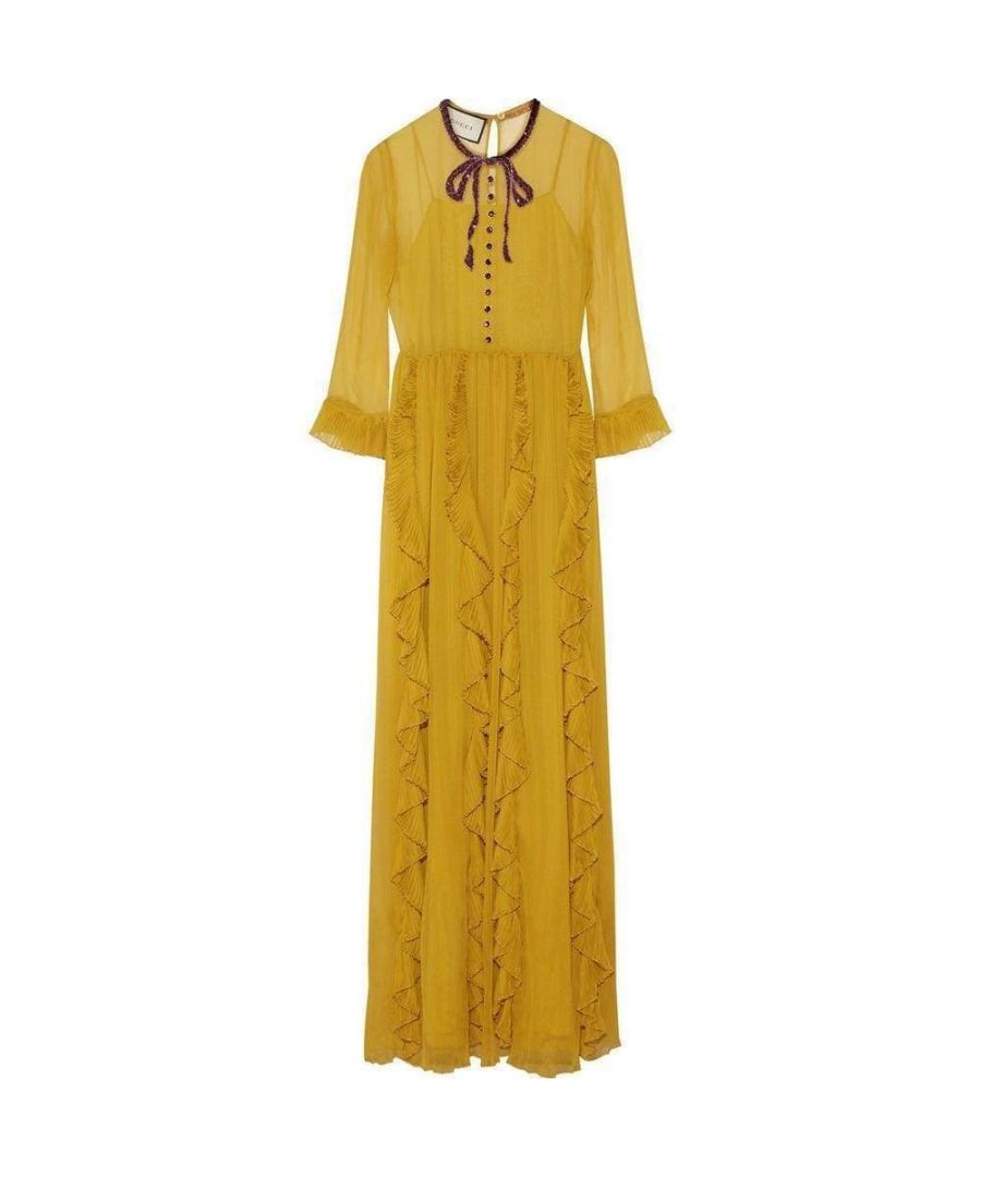 Image for Gucci Yellow Silk Chiffon Embroidered Gown