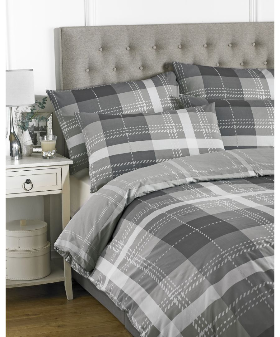 Image for Clubhouse Check King Duvet Set Charcoa