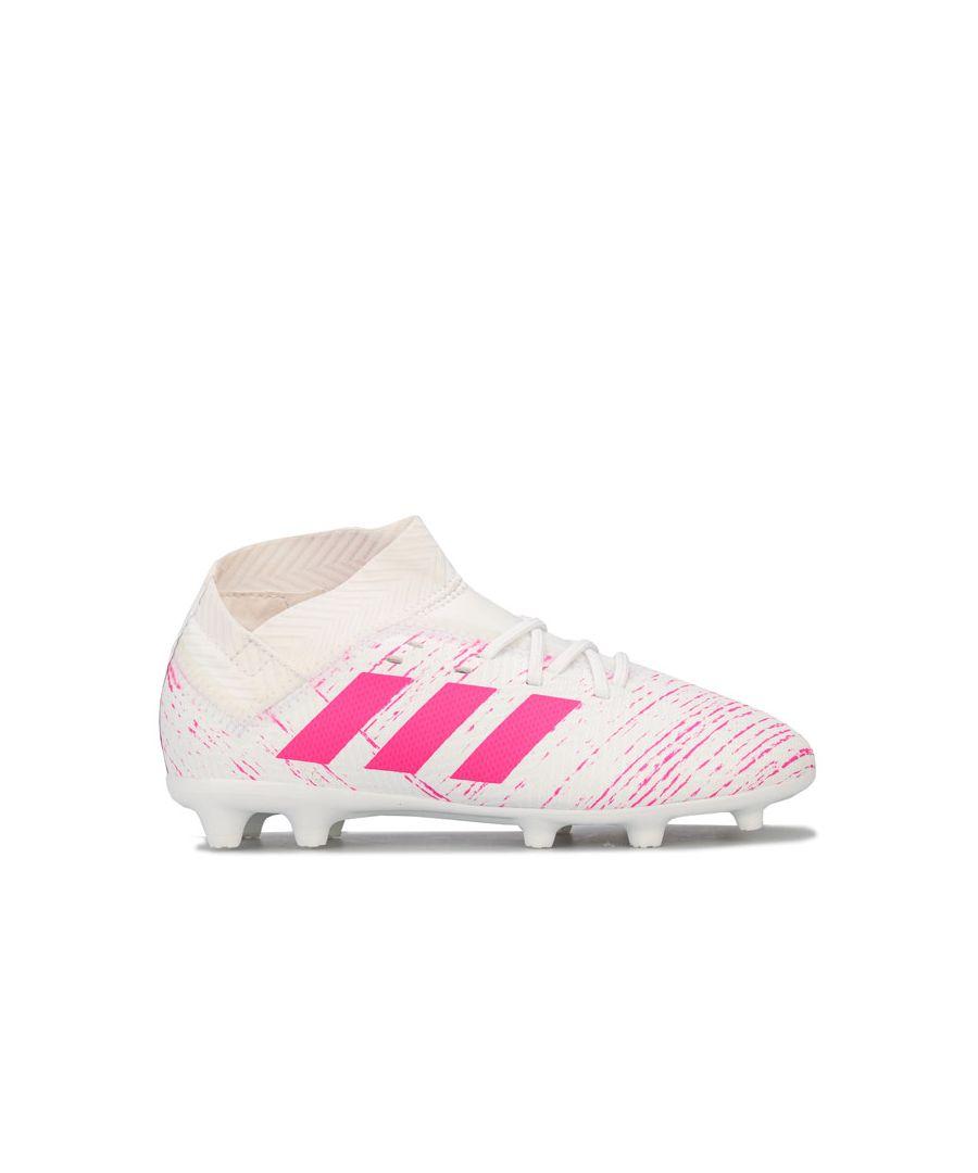 Image for Boy's adidas Children Nemeziz 18.3 FG Football Boots in White pink