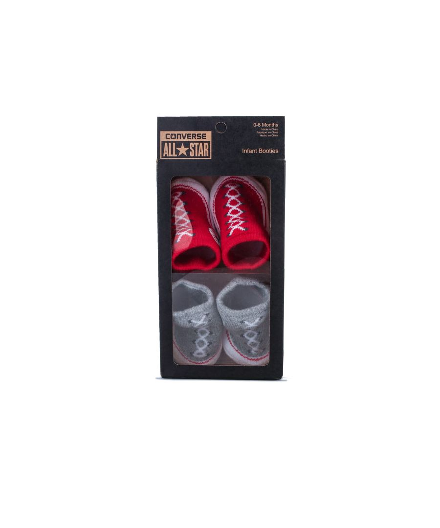 Image for Boy's Converse 2 Pair Booties in Grey red