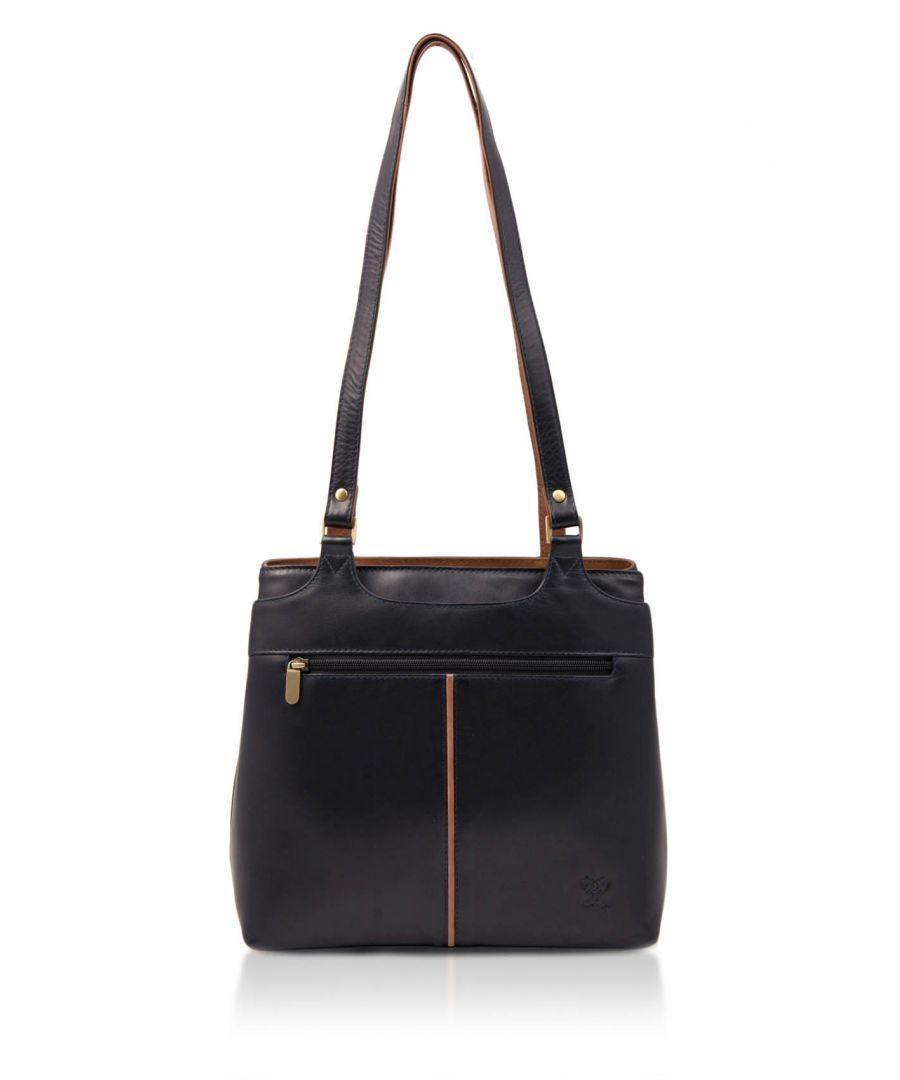 Image for Colourblock Zipped Leather Shoulder Bag in Navy