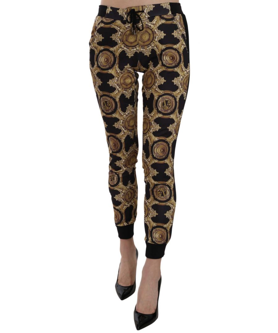 Image for Versace Jeans Black and Gold Printed Elasticated COUTURE Trackpants
