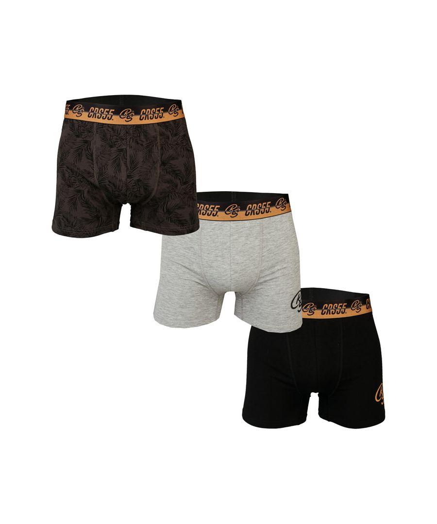 Image for Men's Crosshatch 3 Pack Sentell Boxer Shorts in Grey black