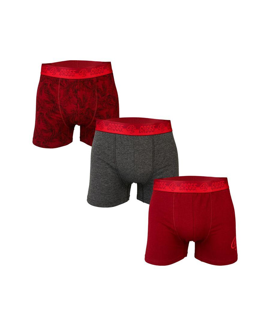 Image for Men's Crosshatch 3 Pack Sentell Boxer Shorts in Burgundy