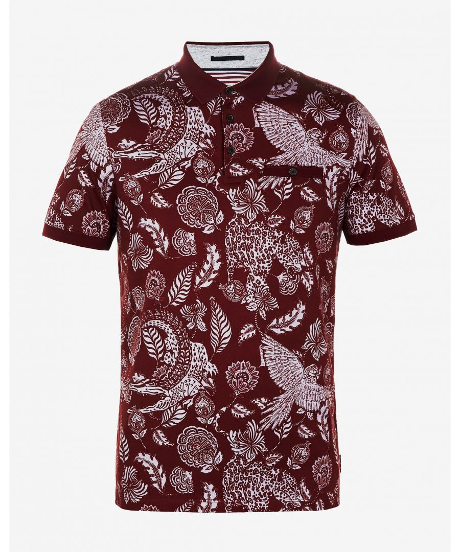 Image for Ted Baker Colabot Floral Print Cotton Polo, Dark Red