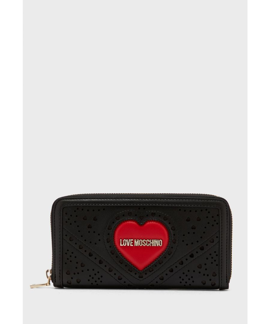 Image for Love Moschino Zip Around Wallet With Large Heart in Black