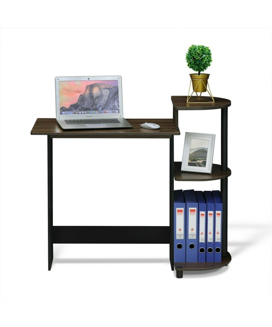 Image for Furinno Compact Computer Desk with Shelves - Columbia Walnut