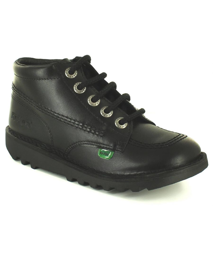 Image for Kickers Hi Core Y Boys Kids Leather Boots Black