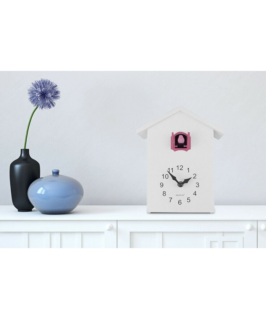 Image for Walplus White Cuckoo Table Clock - Pink Window, Bedroom, Living room, Modern, Home office essential, Gift