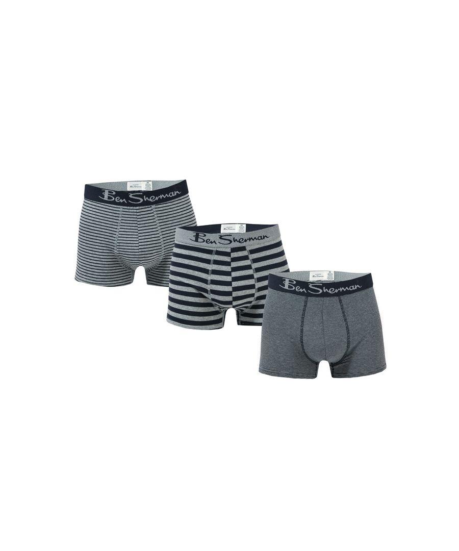 Image for Men's Ben Sherman Hayden 3 Pack Boxer Shorts in Navy Grey